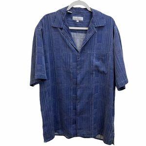 ENRO Silk Button Down Shirt Blue Size Large Tall